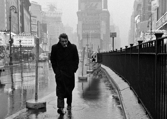 """Dennis Stock, """"James Dean in Times Square,"""" 1955. Life Magazine"""