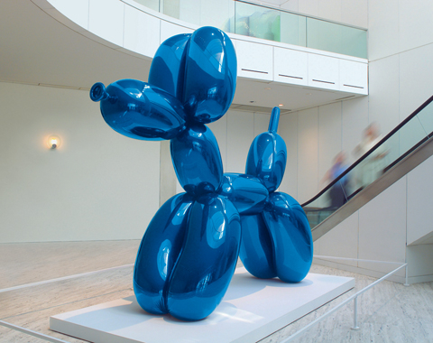 Balloon Dog, mirror-polished stainless steel with transparent color coating, 121 x 143 x 45 inches 5 unique versions (Blue, Magenta, Yellow, Orange, Red)1994-2000