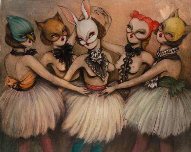 Bailarinas 5, acrylic on canvas, 55.125 x 66.875 inches