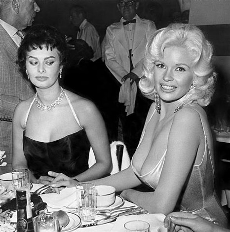 Joe Shere, Jayne Mansfield and Sophia Loren at Romanoff's, Beverly Hills, c. 1958. Silver Gelatin Print.