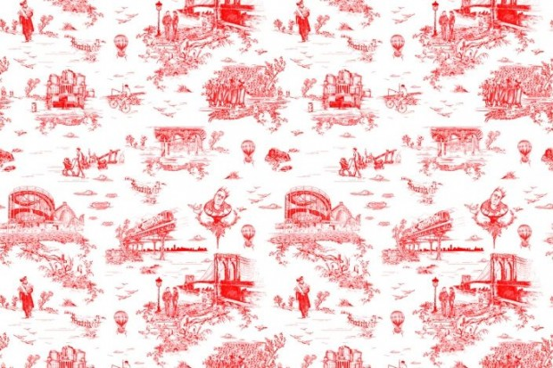 Commissioned by Mike Diamond of the Beastie Boys, Flavor Paper's  Brooklyn Toile  pays tribute to all things Brooklyn.