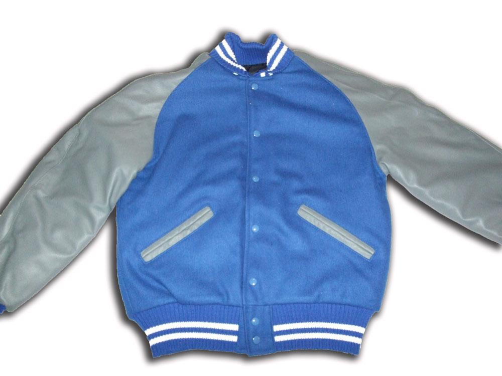 Blue and Grey Utah Letterman Jacket