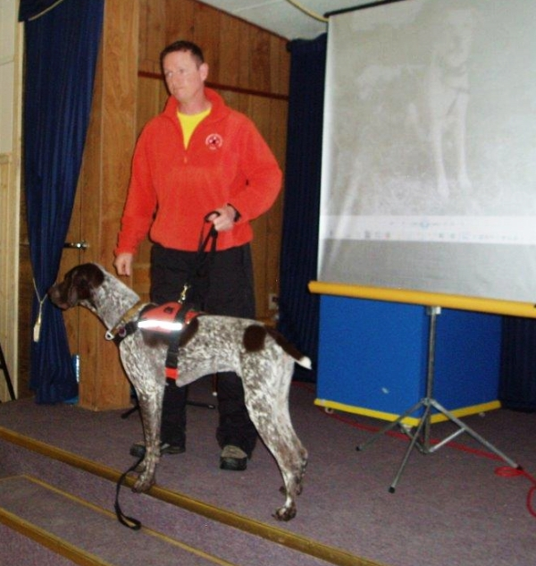 Kaslo SAR volunteer and Scout, search dog in trainging OHELP event, March 2016