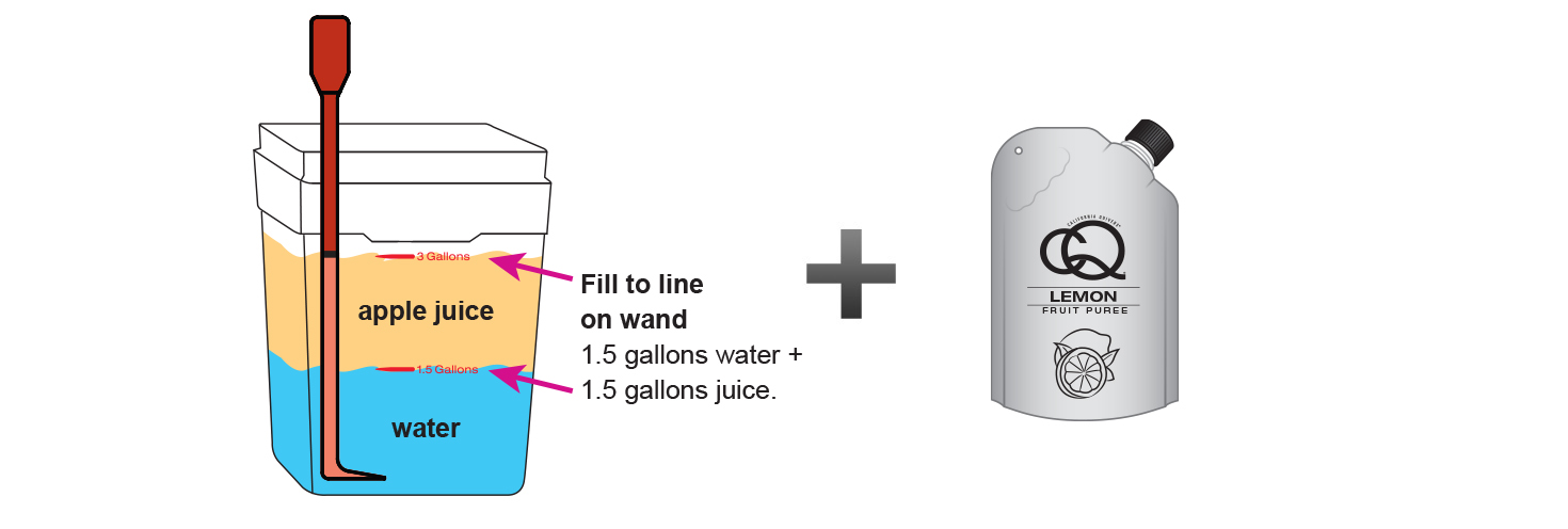 CQ-Lemon-Apple-Juice-Infusions-Recipe-Step-3-Fill-CQ-Mixing-Bucket-Water-and-1-pouch-CQ-Lemon-Puree