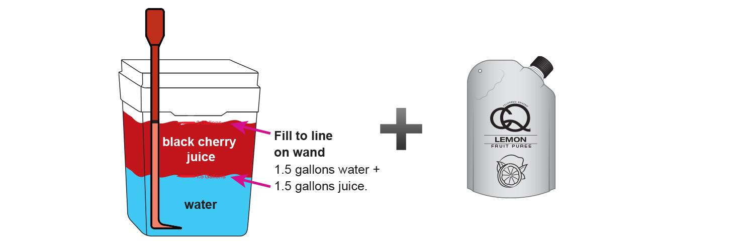 CQ-Lemon-Black-Cherry-Juice-Infusions-Recipe-Step-3-Fill-CQ-Mixing-Bucket-Water-and-1-pouch-CQ-Lemon-Black-Cherry-Puree