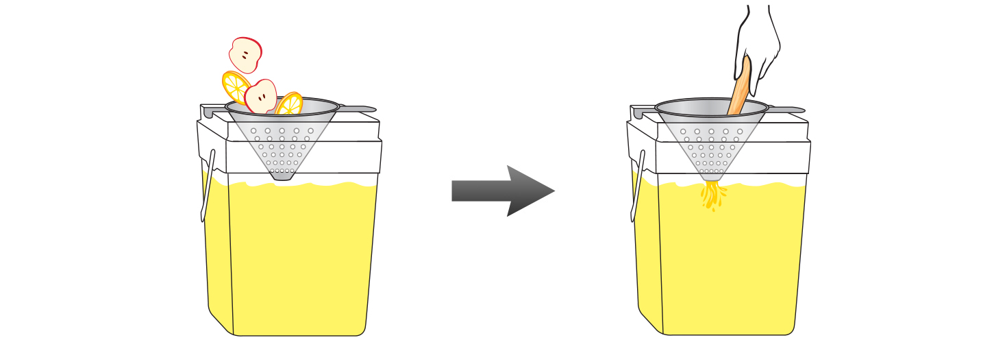 CQ Lemon Apple Infused Water Recipe - Use a metal strainer to muddle the extra lemon and apple slices into the mixing bucket