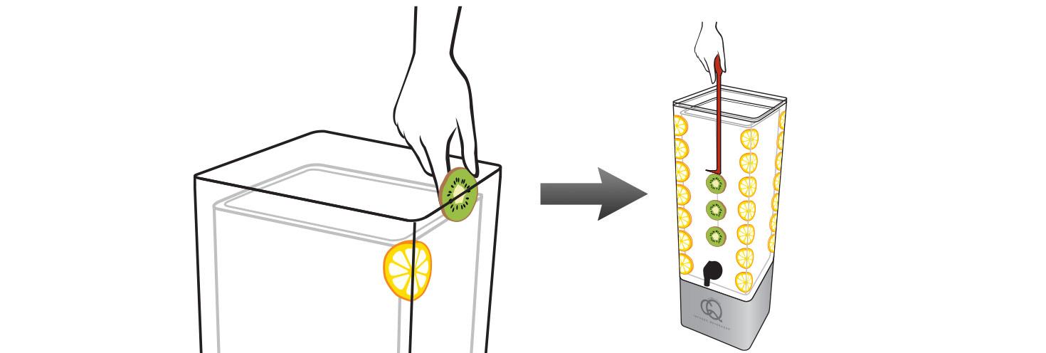 CQ-Lemon-Kiwi-Spa-Water-Recipe-Step-2-Add-Fruit-Into-BPA-Free-Infusion-Jar