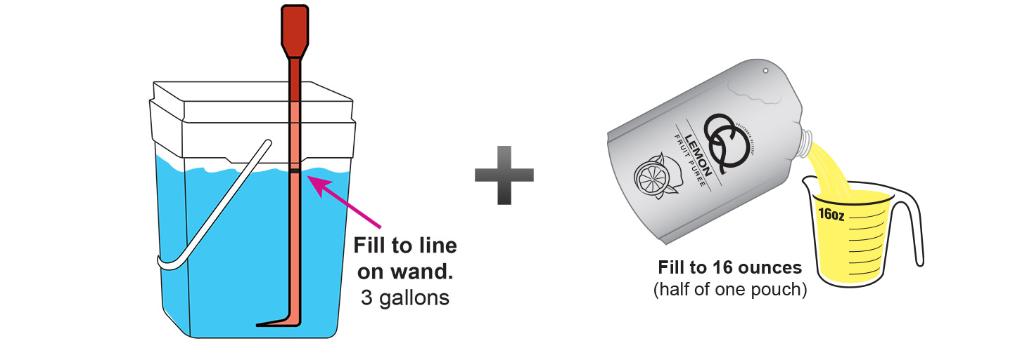 CQ-Lemon-Kiwi-Spa-Water-Recipe-Step-3-Fill-CQ-Mixing-Bucket-Water-and-1-pouch-CQ-Lemon Puree