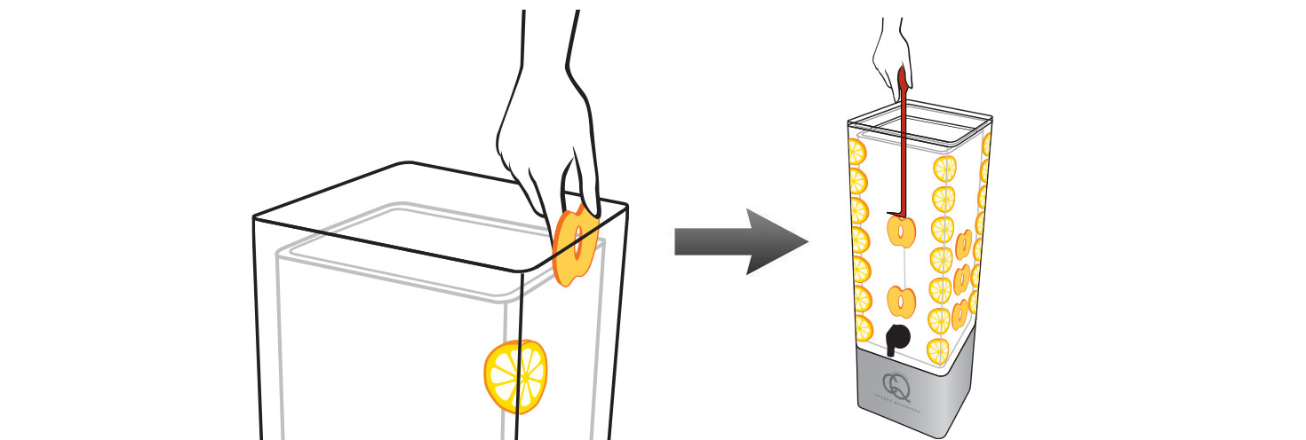 CQ-Peach-Lemon-Spa-Water-Recipe-Step-2-Add-Fruit-Into-BPA-Free-Infusion-Jar