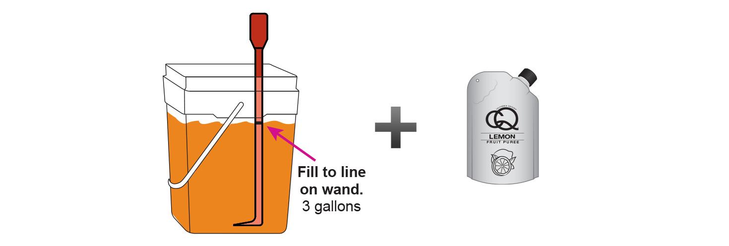 CQ-Lemon-Orange-Iced-Tea-Recipe-Step-3-Fill-CQ-Mixing-Bucket-Water-and-1-pouch-CQ-Lemon-Orange-Puree