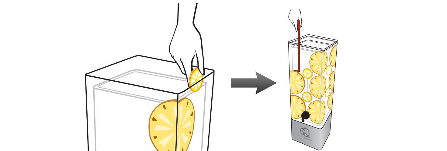 CQ-Lemon-Pineapple-Cayenne-Spa-Water-Recipe-Step-2-Add-Fruit-Into-BPA-Free-Infusion-Jar
