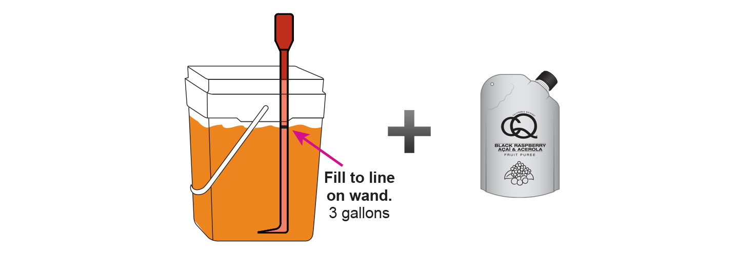 CQ-Black-Raspberry-Açaí-Orange-Iced-Tea-Recipe-Step-3-Fill-CQ-Mixing-Bucket-Water-and-1-pouch-CQ-Black-Raspberry-Açaí-Orange-Puree