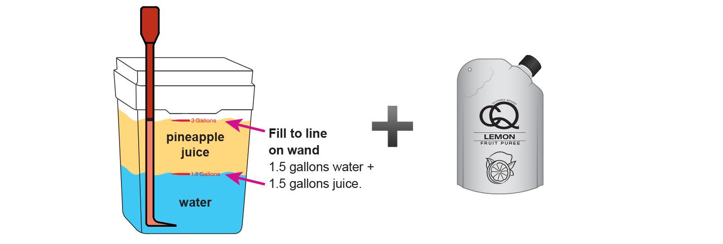 CQ-Lemon-Cinnamon-Pineapple-Juice-Infusions-Recipe-Step-3-Fill-CQ-Mixing-Bucket-Water-and-1-pouch-CQ-Lemon-Apple-Puree