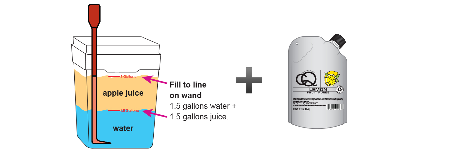 CQ-Lemon-Lemon-Ginger-Cinnamon-Apple-Juice-Infusions-Recipe-Step-3-Fill-CQ-Mixing-Bucket-Water-and-1-pouch-CQ-Puree