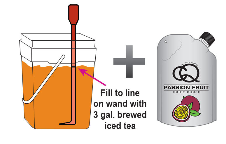 CQ-Passion-Pineapple-Orange-Iced-Tea-Recipe-Step-3-Fill-CQ-Mixing-Bucket-Water-and-1-pouch-CQ-Pineapple-Orange-Puree