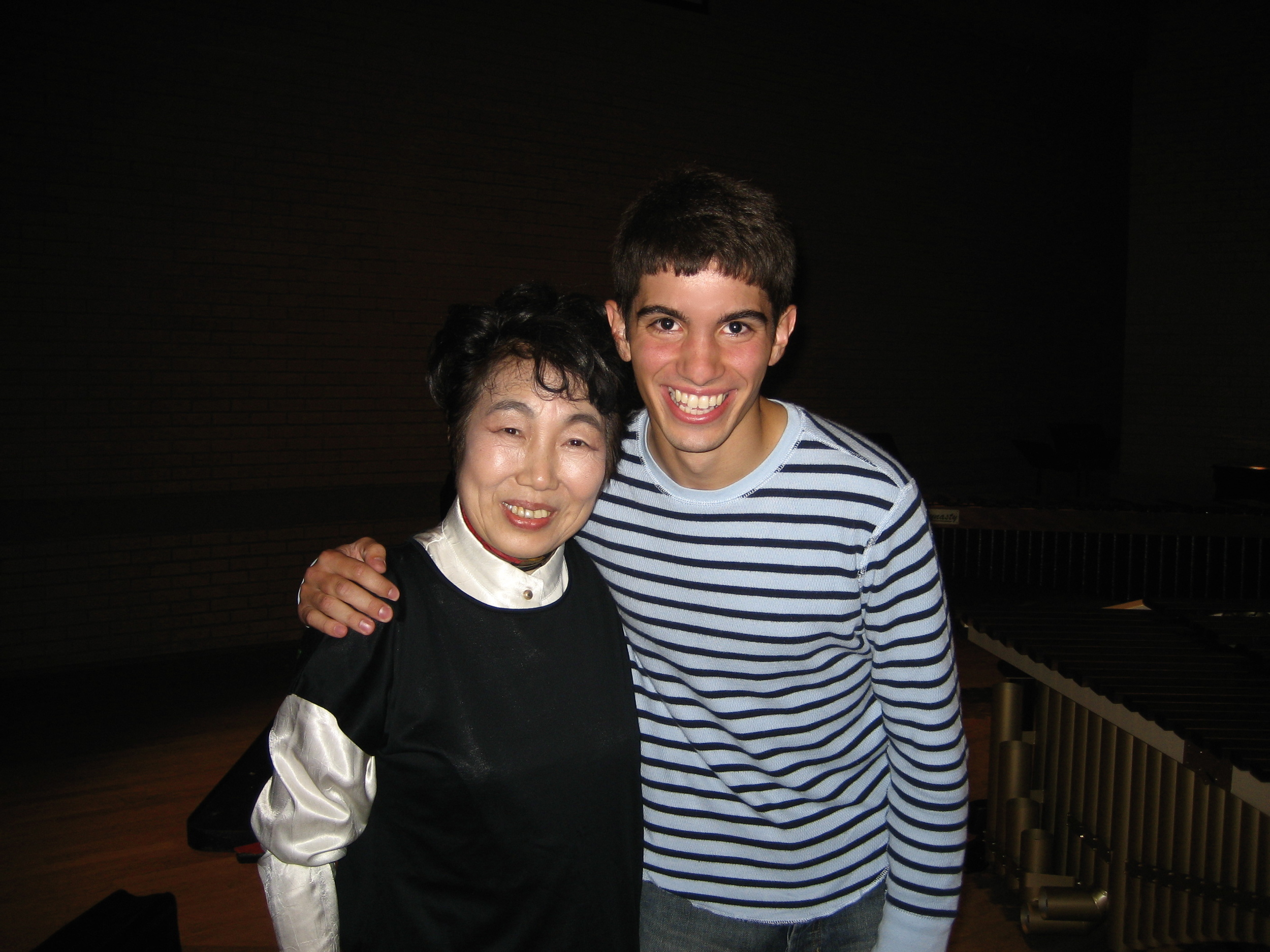 A very young Benjamin with Keiko Abe after performing in her masterclass at the University of North Texas
