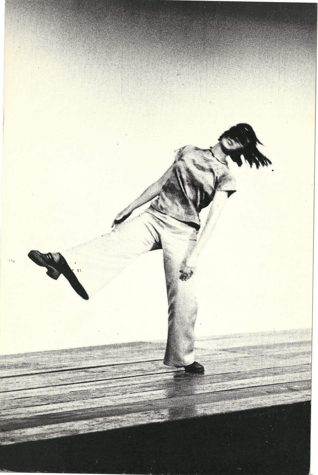 Yvonne Rainer performing Trio A in Portland, OR in 1973.  Photographer unknown.
