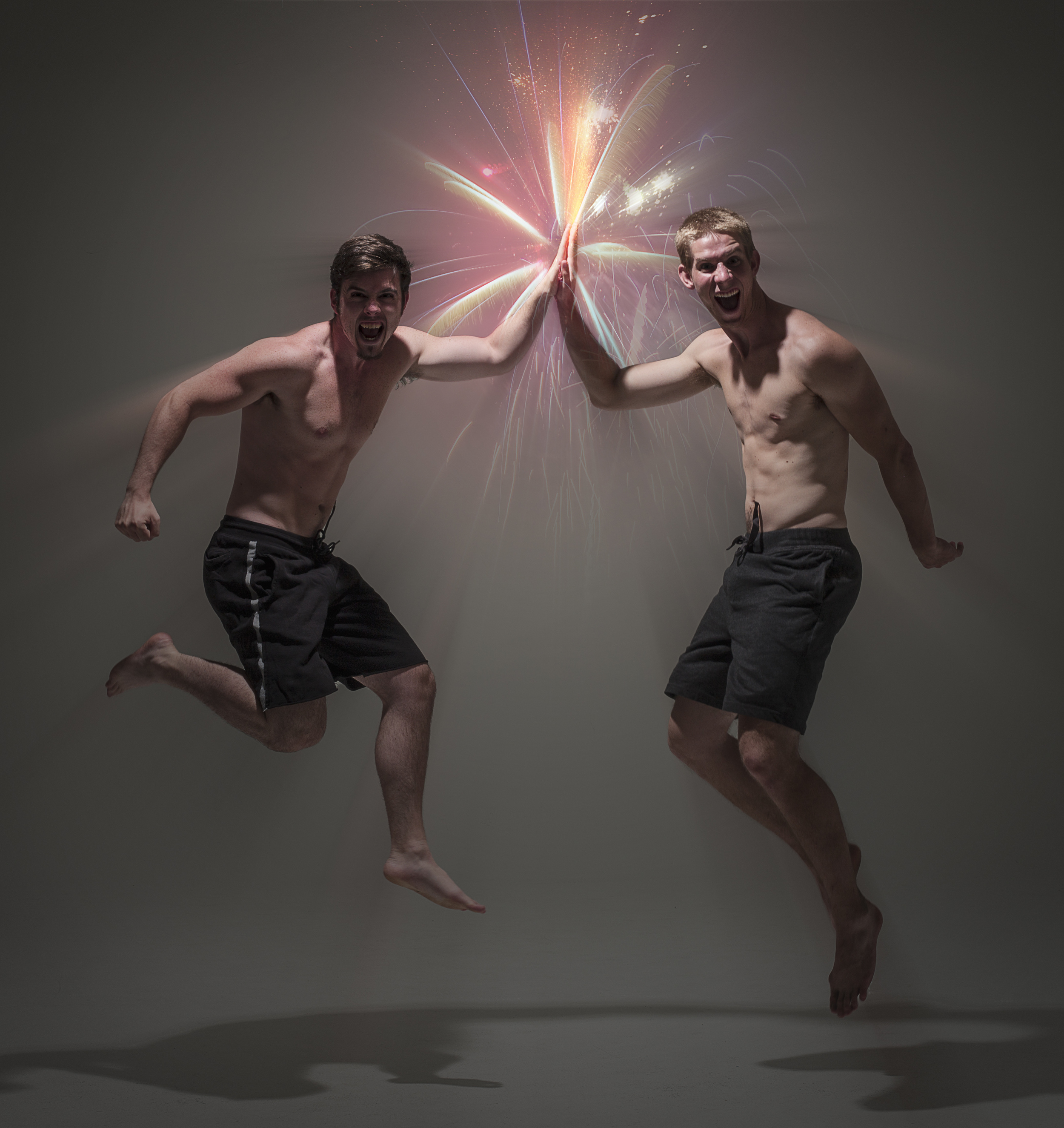 EPIC INTERNET HIGH FIVE IN YO FACE!! Yeah, we're shirtless, deal with it, it's not weird.....
