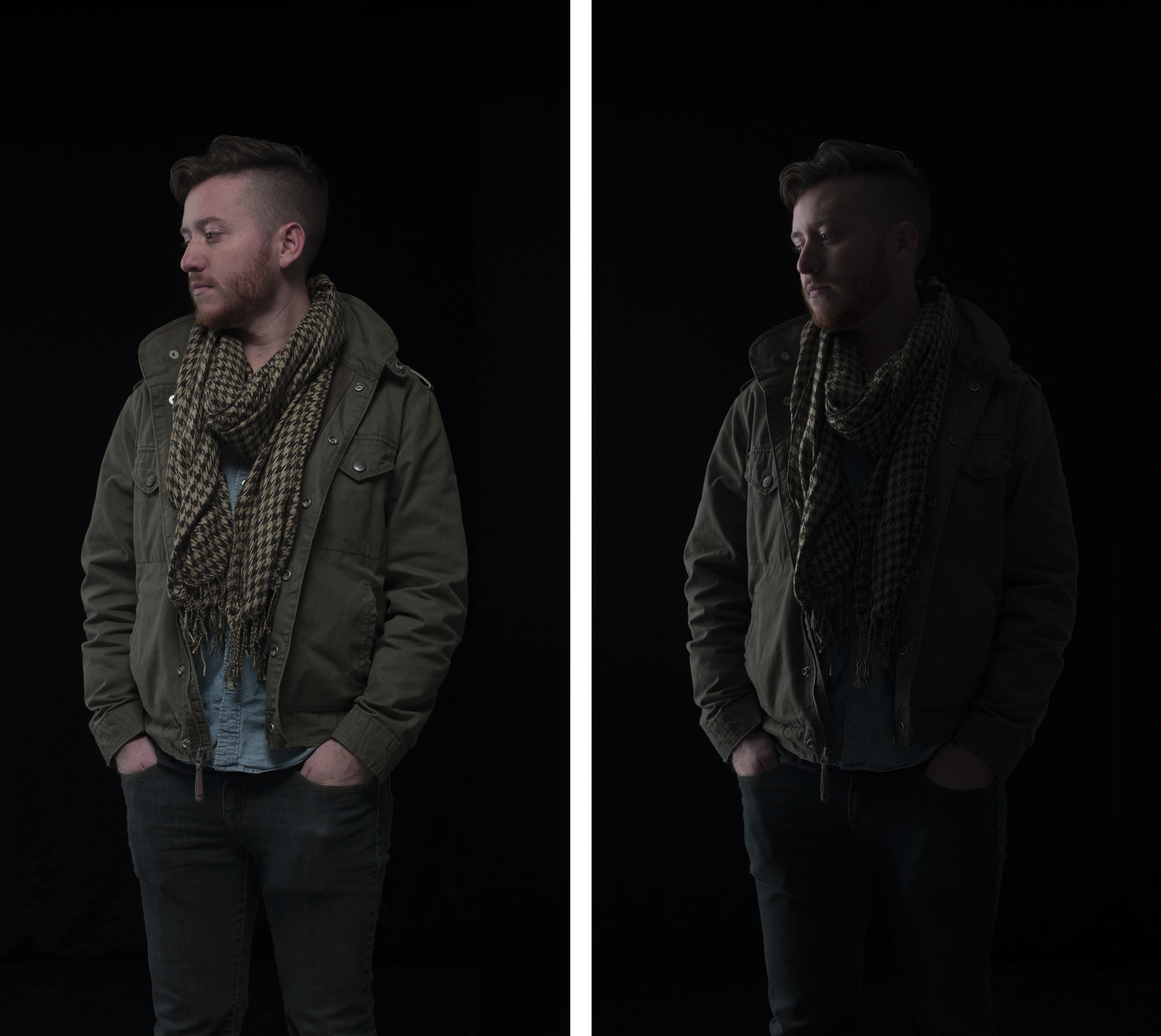 The left image is the very first shot I took, and the right is the second shot takenwith just one light on.