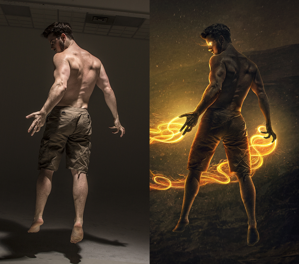 The Fire Summoner before and after Photoshop
