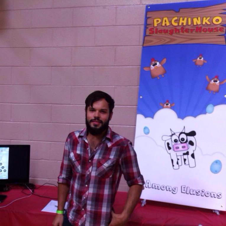 Pachinko Slaughterhouse booth at A Video Game Con with Corey Delorenzo