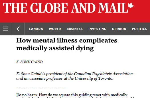 Globe and Mail National Edition Editorial on Mental Illness and Medically Assisted Dying, May 30, 2016 [click to read]