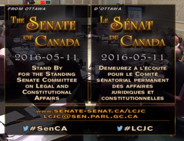 "Video Testimony to Senate Committee, May 11, 2016. Testimony begins at 15:15:15 of video clip and goes till 16:15:00  [click above to go to Government of Canada Senate site, then select ""video webcast"" on right side of screen to view video, and slide progress bar to 15:15:15 for testimony session]   Note that once video starts playing on the 'senparlvu' parliamentary site, ""Back Button"" browser function may not work properly for returning to this page ]"