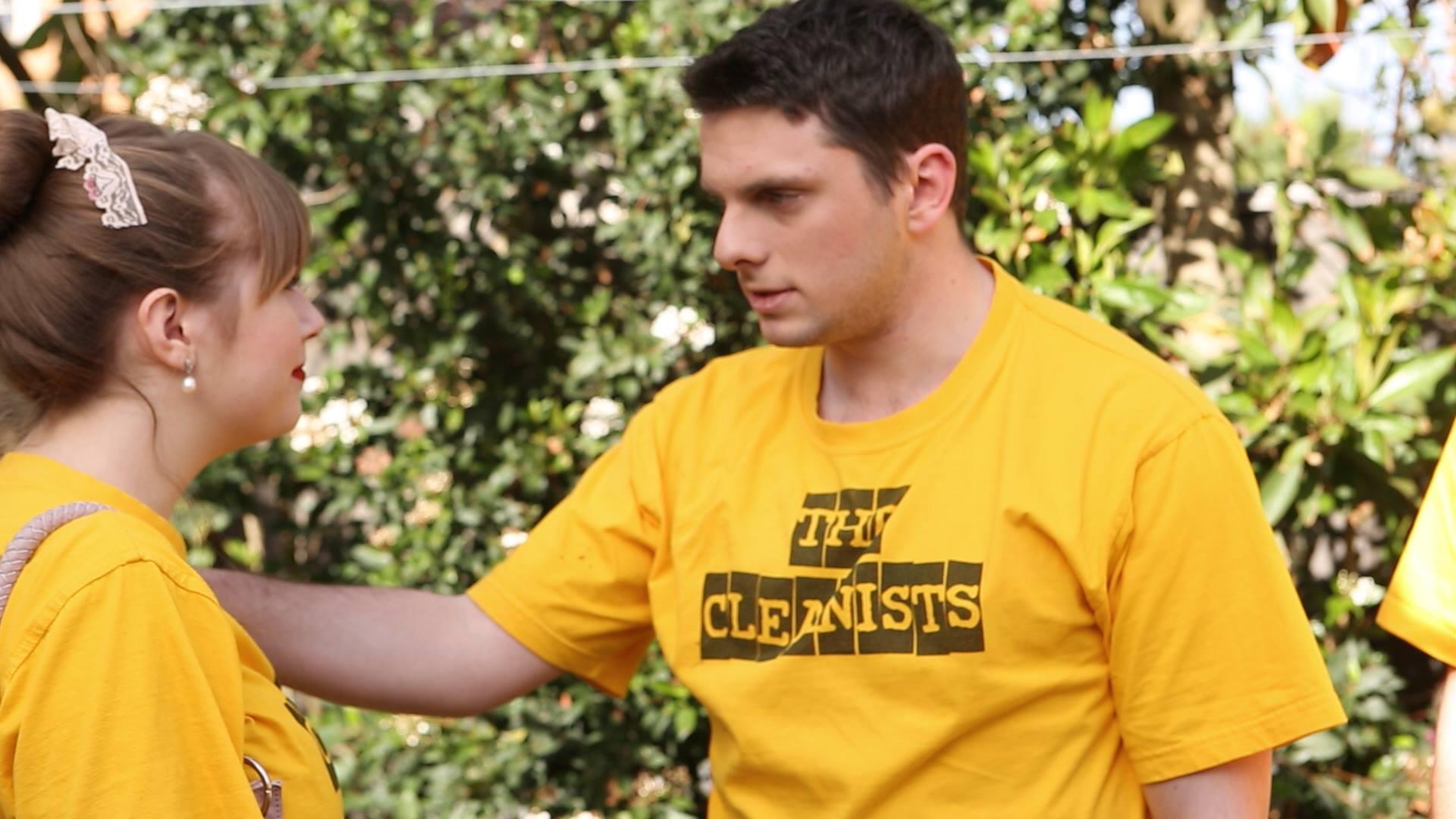 An outdoor shot of Gregg (James Chapman) & Magda (Gabriella Chamberlain) in action
