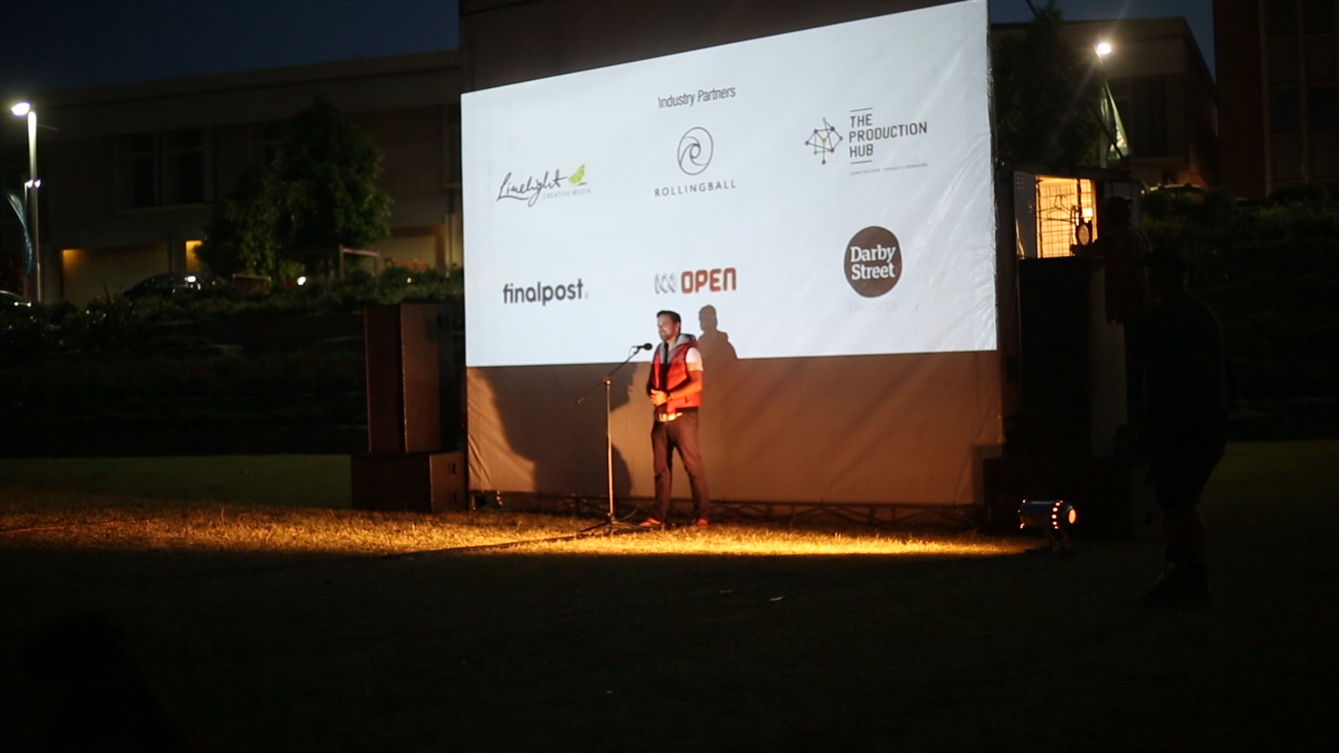Jason van Genderen speaking at the Civic Park Film Screening