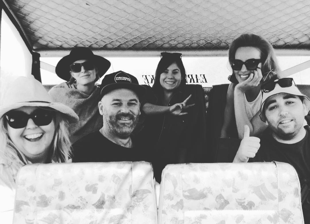 A happy snap of myself along with the make up artists, Samantha Wills, director Lara Lupish and photographer extraordinaire Matt Briggs, in the dune buggy riding out to the location.