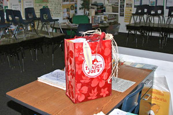 A gift on a teacher's desk
