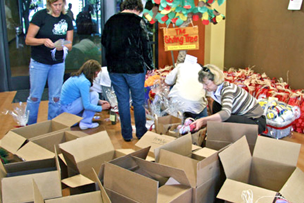 Boxes filled with gifts for local teachers
