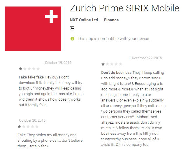 Warnings left in the comment section of the Zurich Prime App
