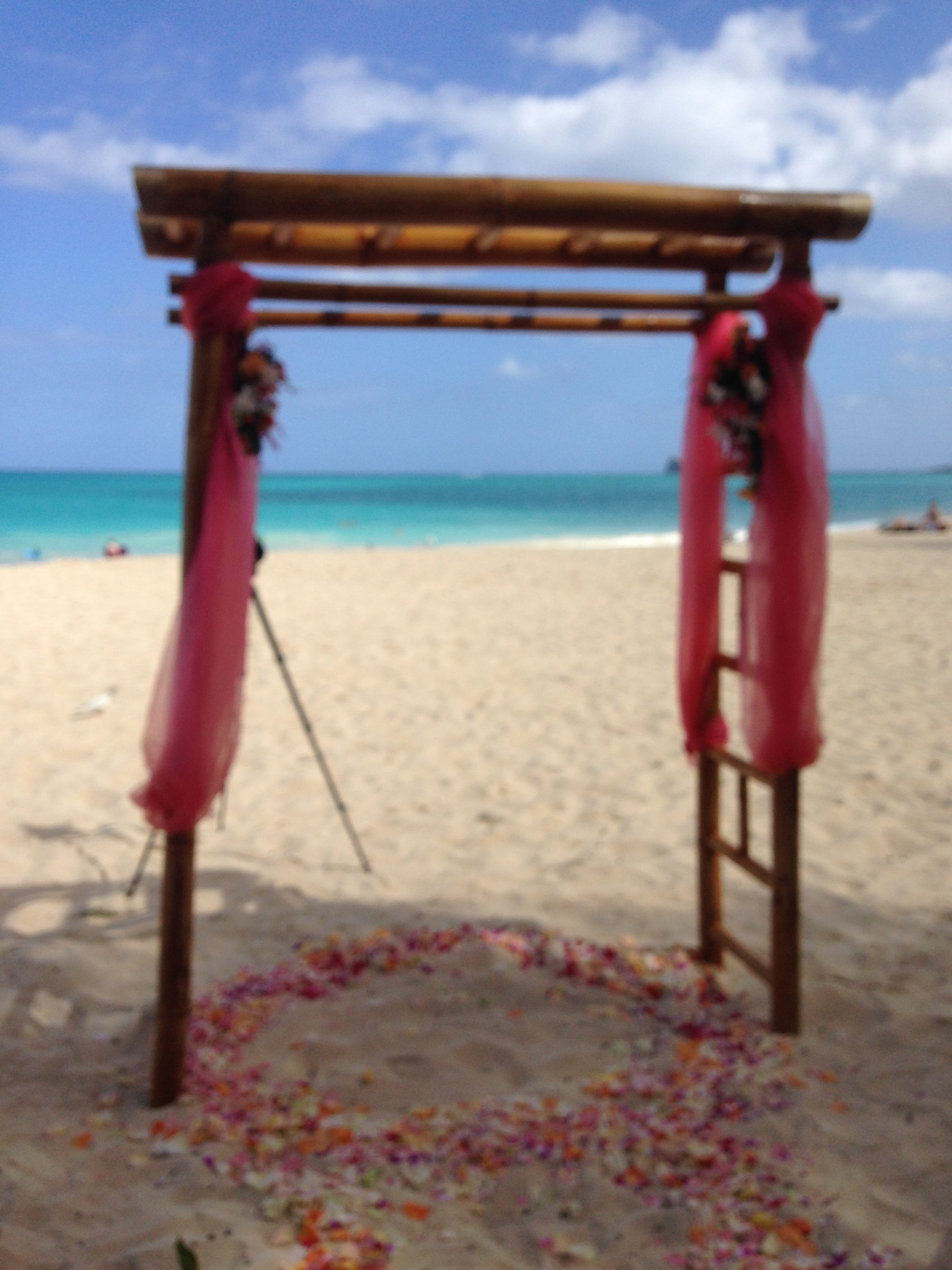 The beautiful wedding arch with Waimanalo Bay in the backdrop (minus the gentlemen on their beach chairs of course)