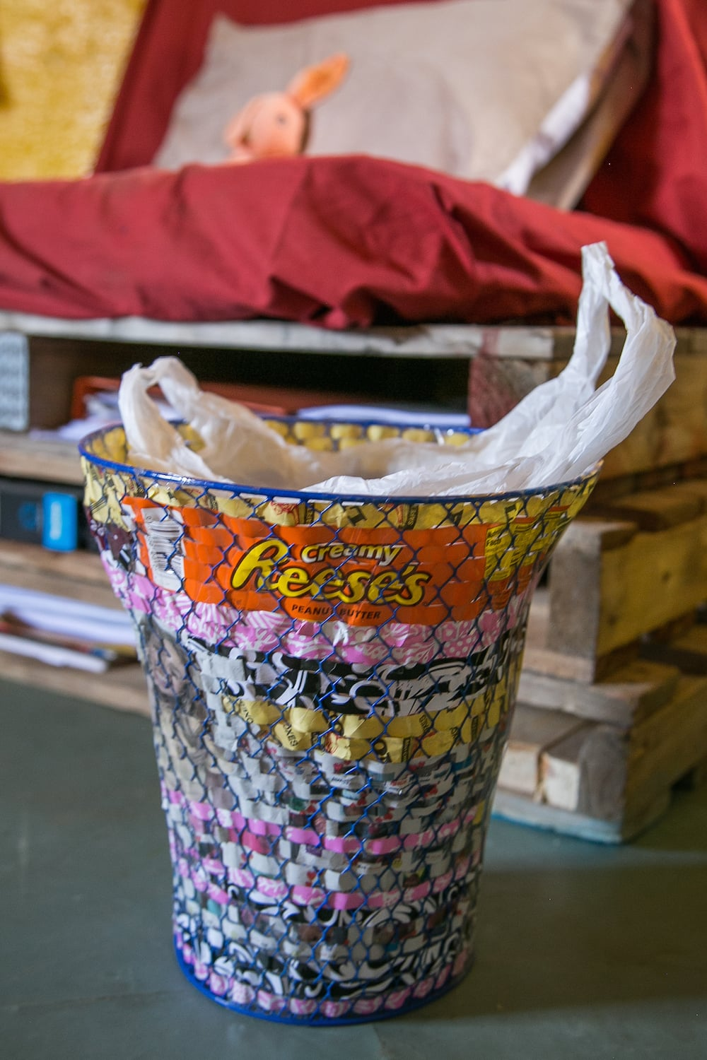 My Paper-Weaved Trashcan     Cost: $2