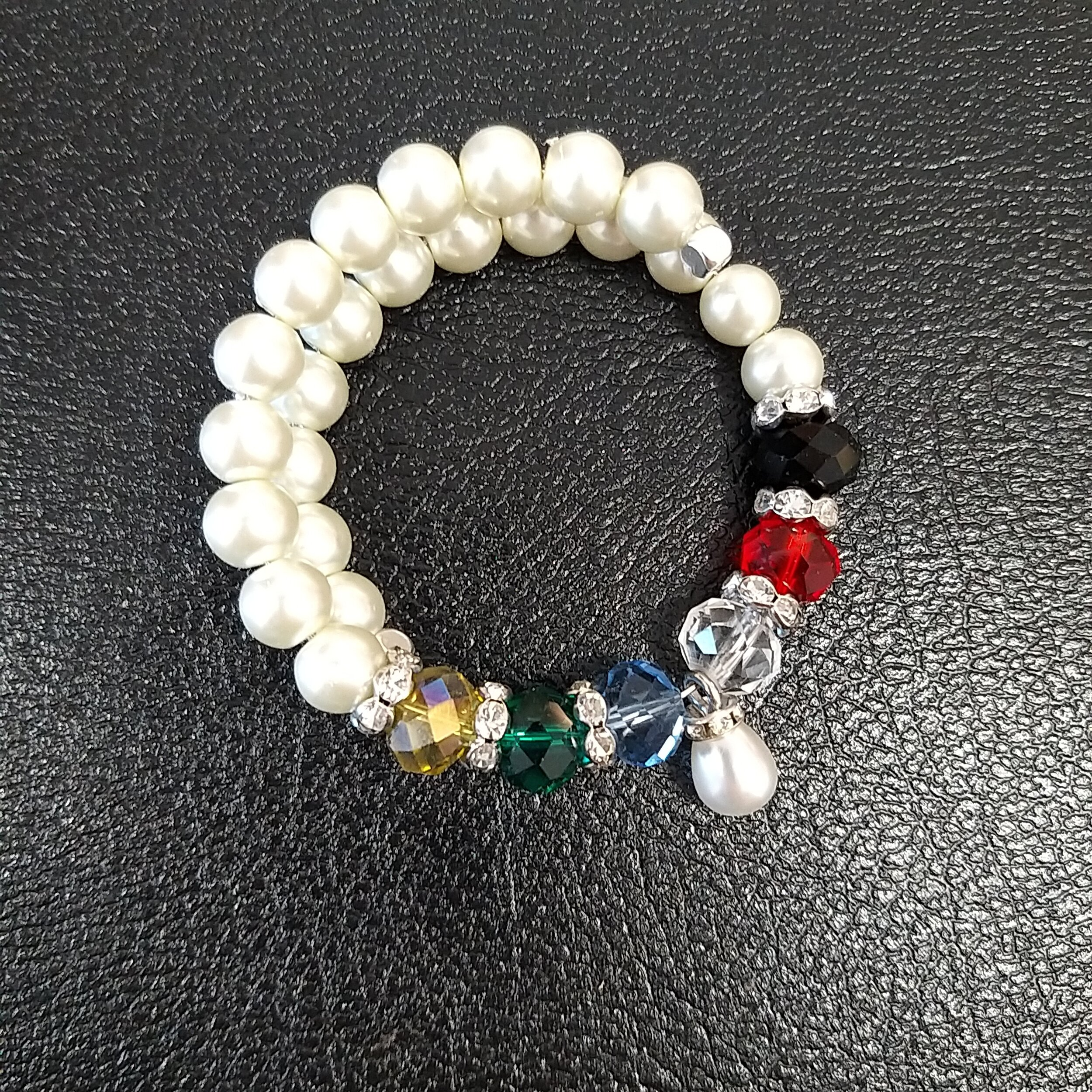#AL-B 190914 - Pearl bracelet with Droplet  suggested $75 USD - Terms Available