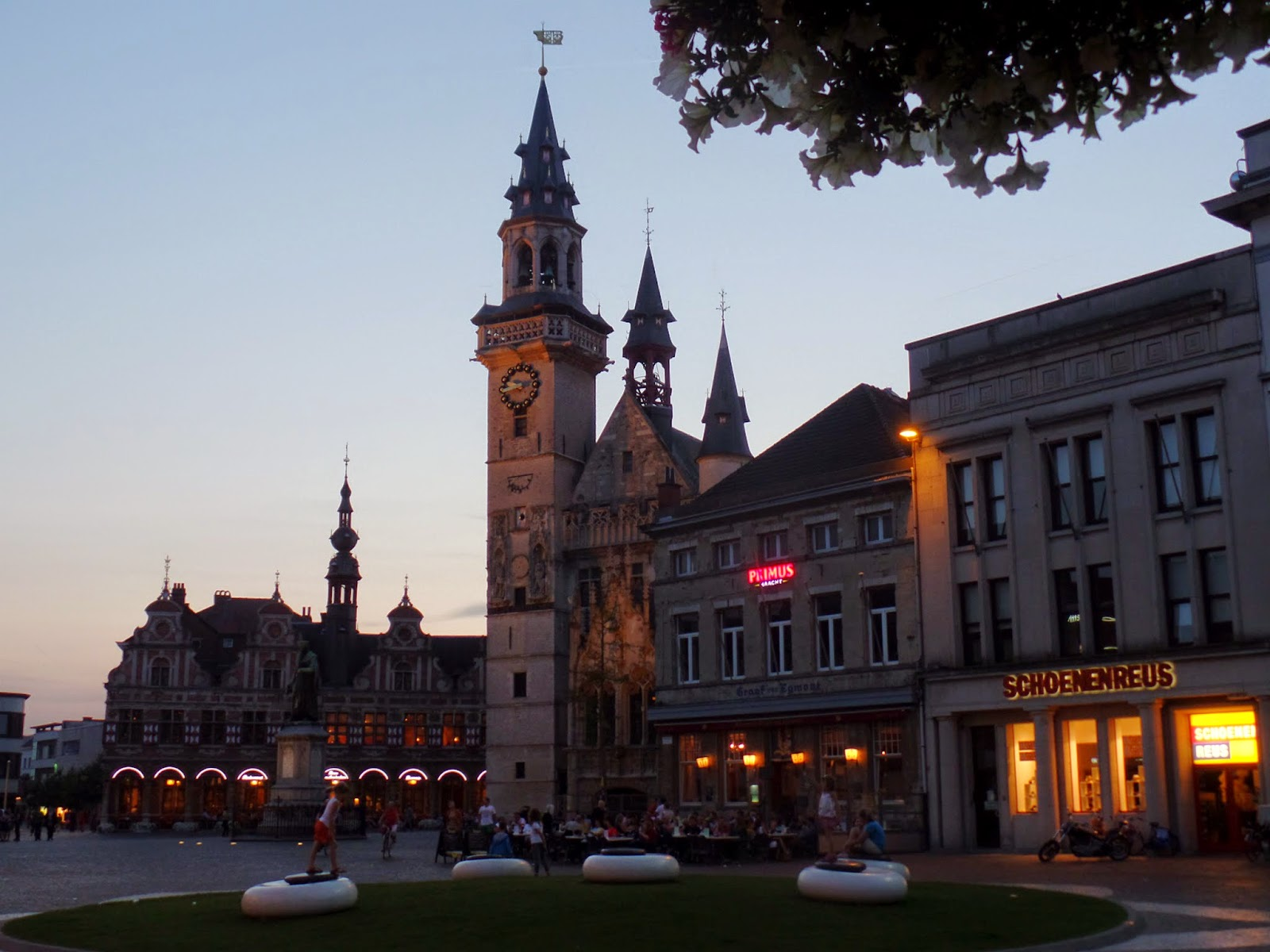 The town square at sunset