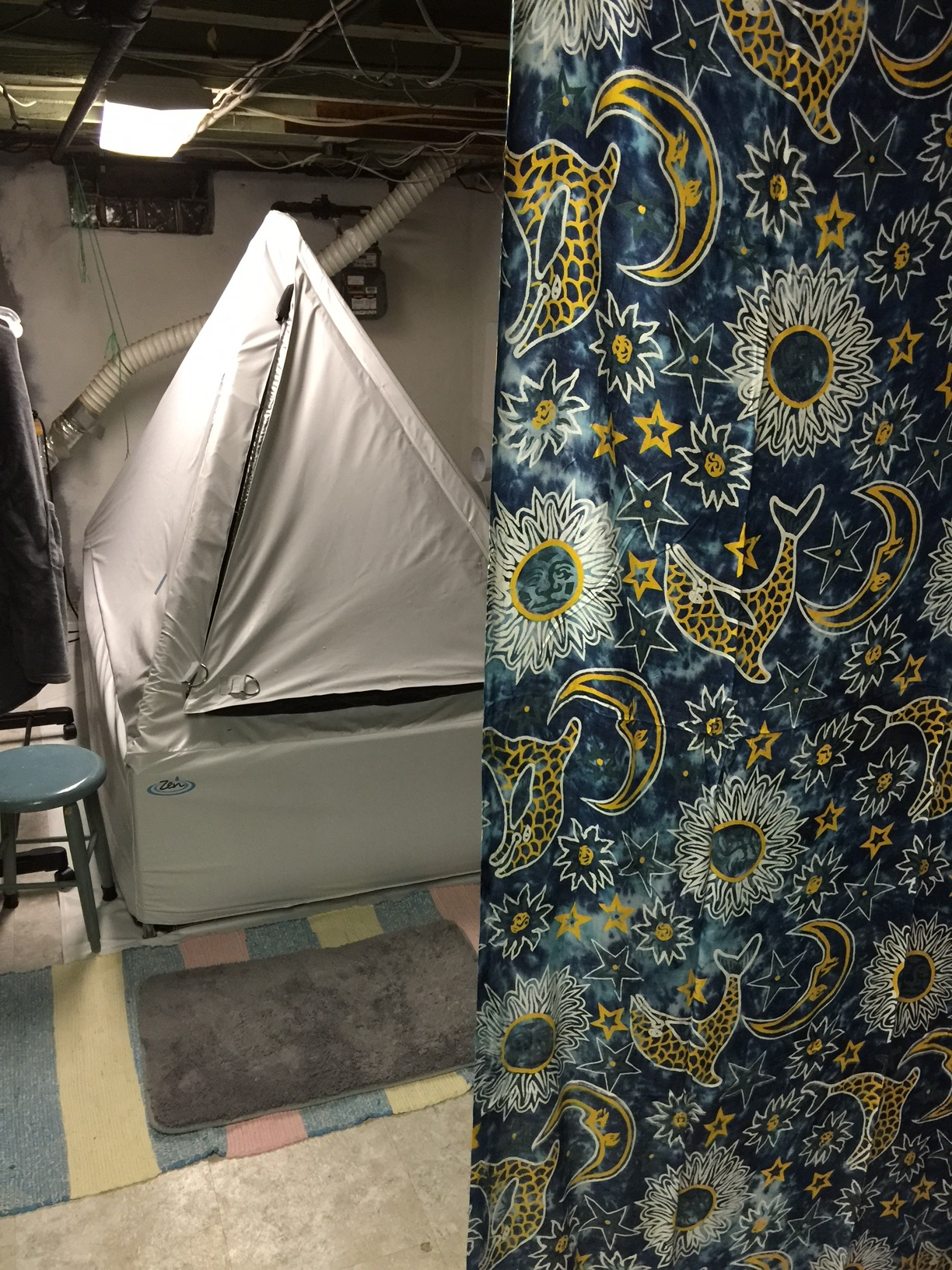 "Dann's Float Tent in his basement which he nows refers to as his ""Zen-ment"""