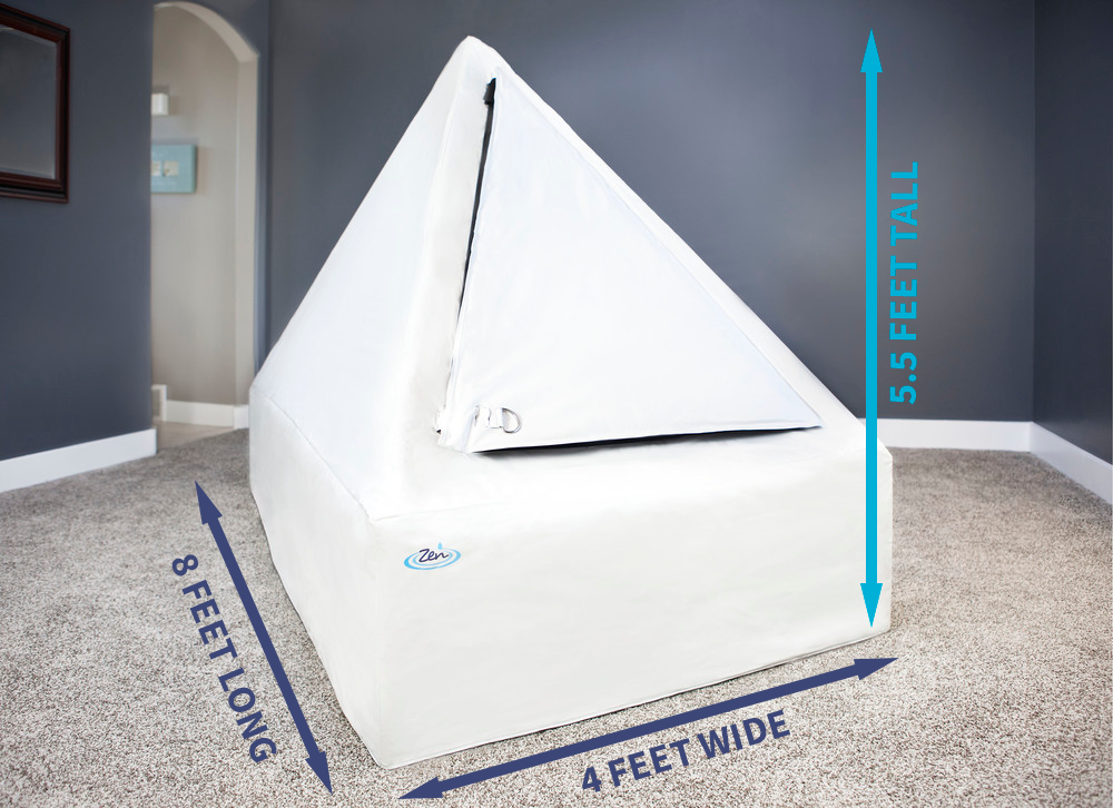 Size - Easily fit the Zen Float Tent into any room of your house with it's convenient 4 ft. by 8 ft. footprint. Big enough for a comfortable float but still small enough to fit in any home.(122 x 244 x 165 cm)