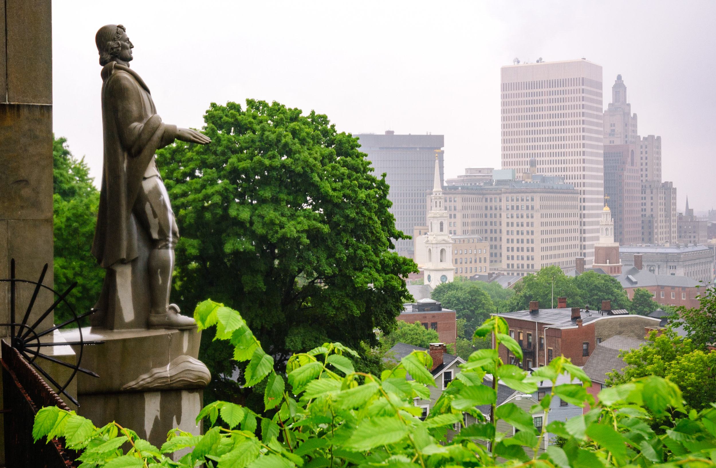 Roger Williams Statue At Prospect Terrace Park Where The Tour Kicks Off, Photo by zrfphoto/iStock/Getty Images