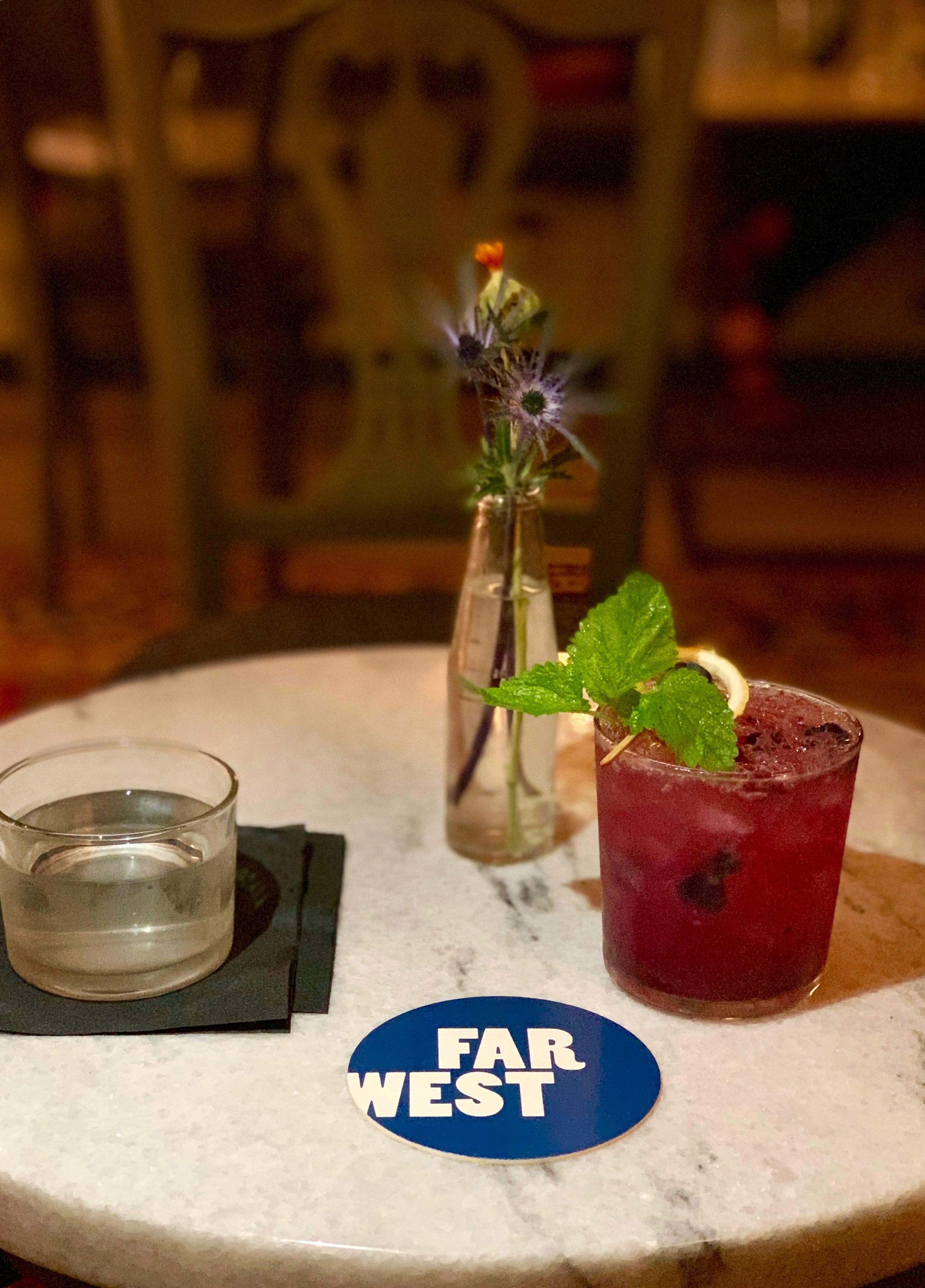The Little Blue Men cocktail (with vodka, blueberry jam, lavender bitter) from last night at the Far West