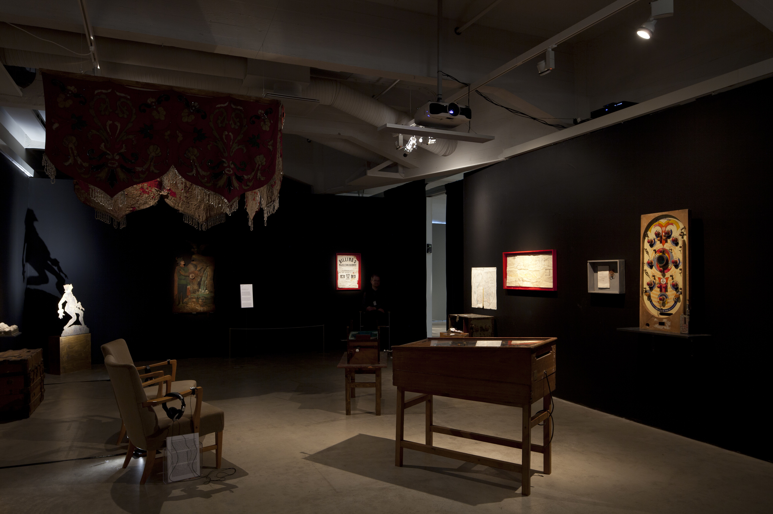 Marjo Levlin: TheHumbug Tent and The Black Cabinet, 2013, installation view