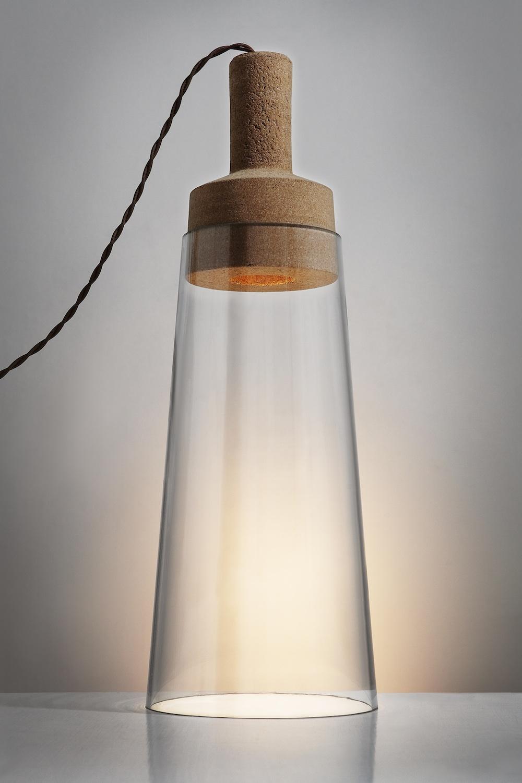 Mari Isopahkala:JAM light, 2011. Glass, cork and 1W LED. Image: Chikako Harada.