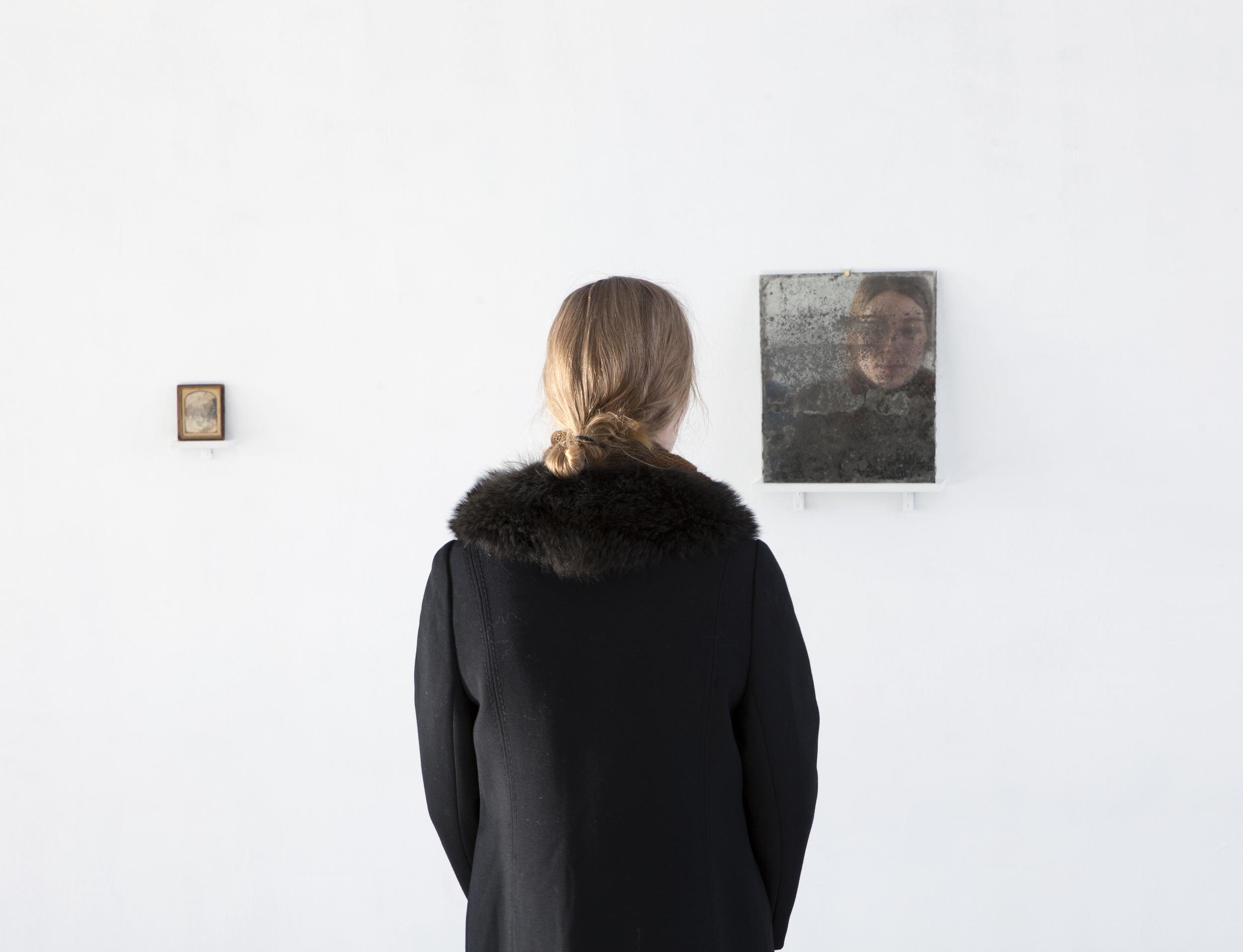 Tanja Koljonen,  What We See We Remember I    (2015)   ,   Daguerrotype, late 1800's, United States, 9,7 x 8cm,   What We See We Remember II  (2015), mirror 33 x 27cm
