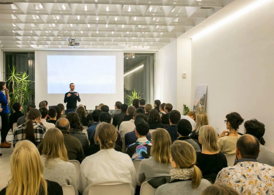 The executive director of the Van Alen Institute, David van der Leer, openingthe Ultimate Exit symposium.  Photo: Cameron Blaylock
