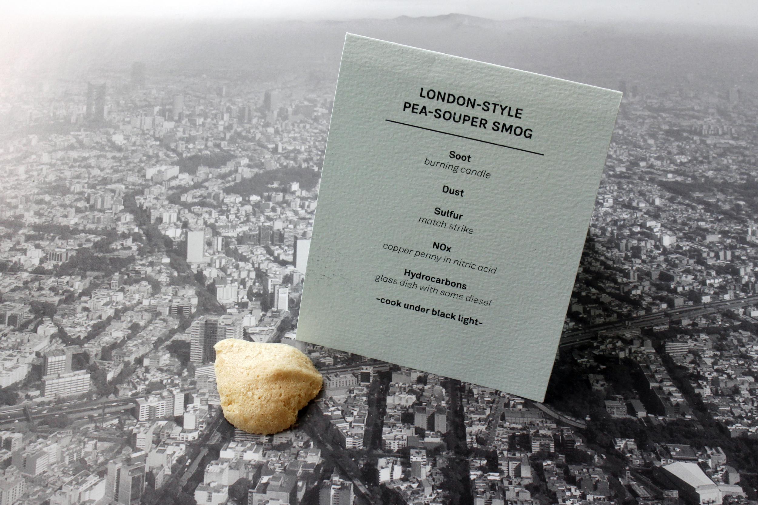 London-style pea-souper smog meringue. Image courtesy the Center for Genomic Gastronomy