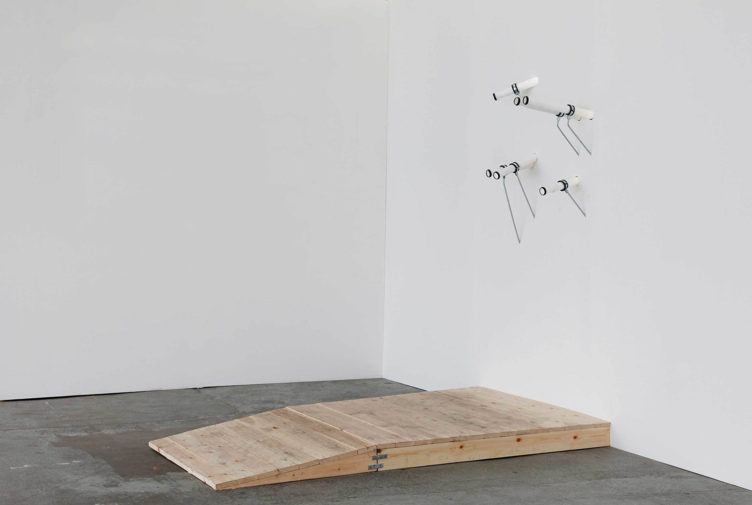 Minna Pöllänen:  Points of View , 2014, wood, waste pipe, washer seals, threaded rod, fixings