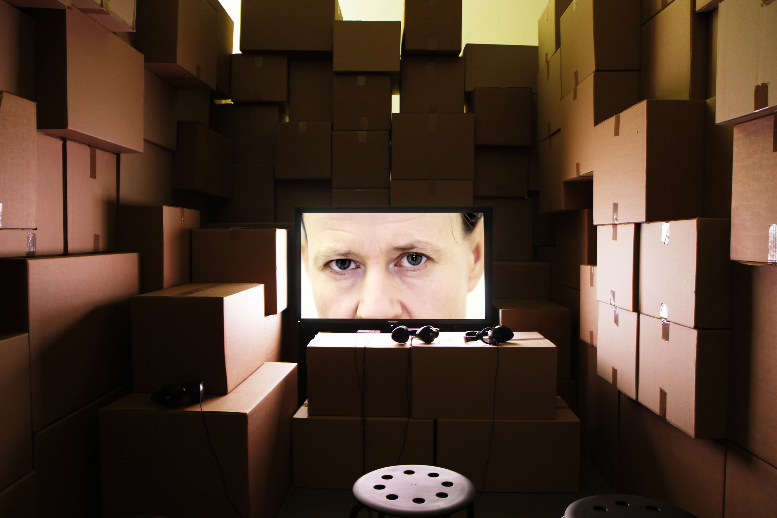 Riikka Kuoppala: Couch, TV and VCR. Installation image at Fondazione Sandretto Re Rebaudengo, Turin, 2013. Photo: Riikka Kuoppala