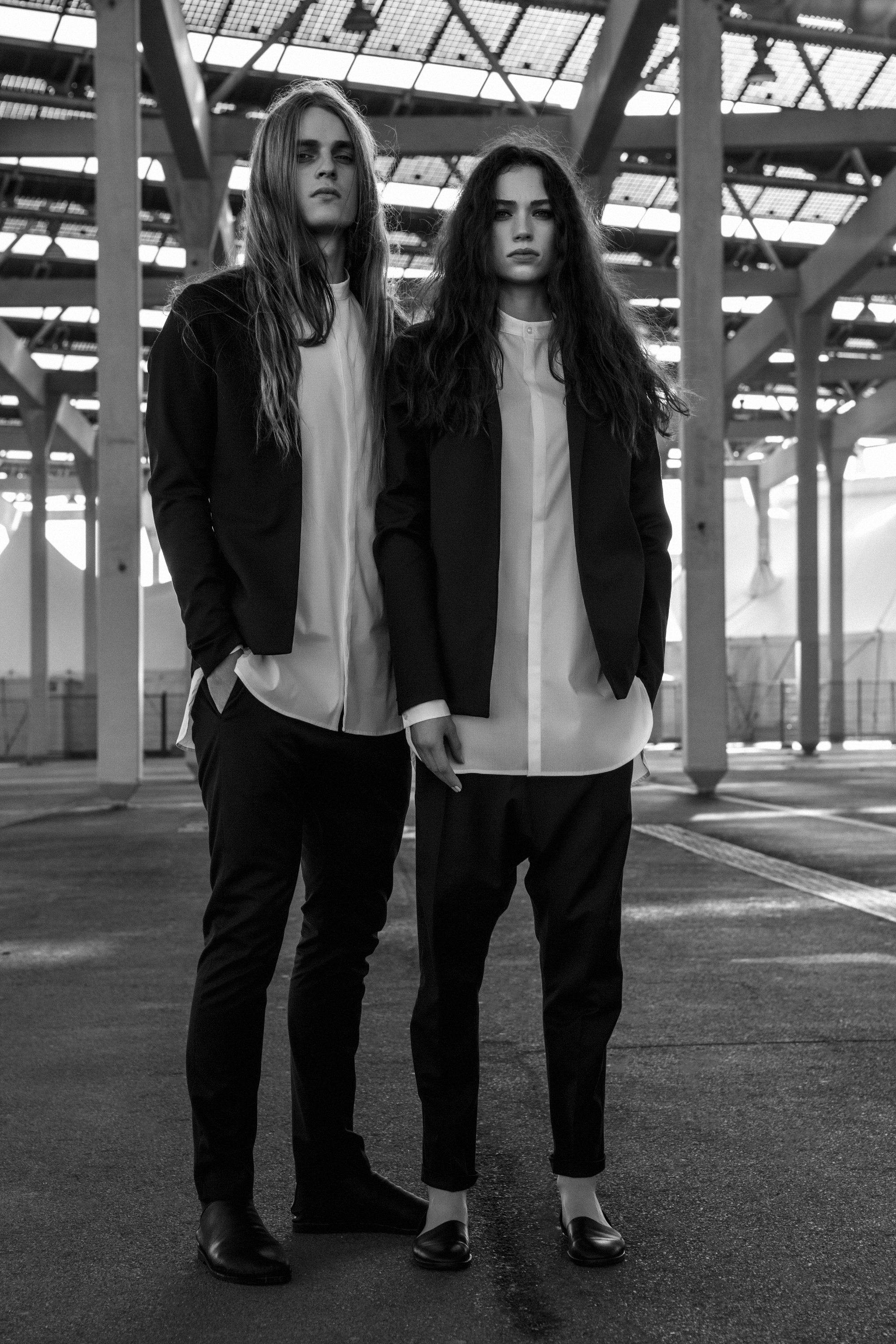 Nomen Nescio: Basic and Minimal Blazer with Slim and Loose Trousers. Photo by Federico Cabrera.