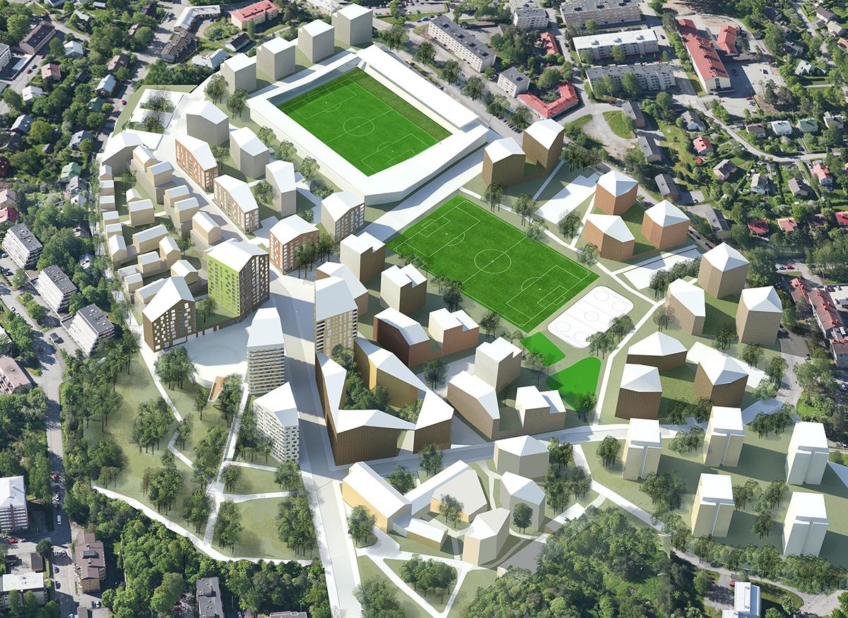 Valtteri Heinonen / HELT Architects:proposal for a detailed plan for Mölymäki residential area in Kuopio, Finland, 2015.